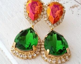Emerald orange pink earrings, green orange chandelier earrings, Bridal earrings,Drop earrings,Swarovski earring,crystal earrings,bridesmaid