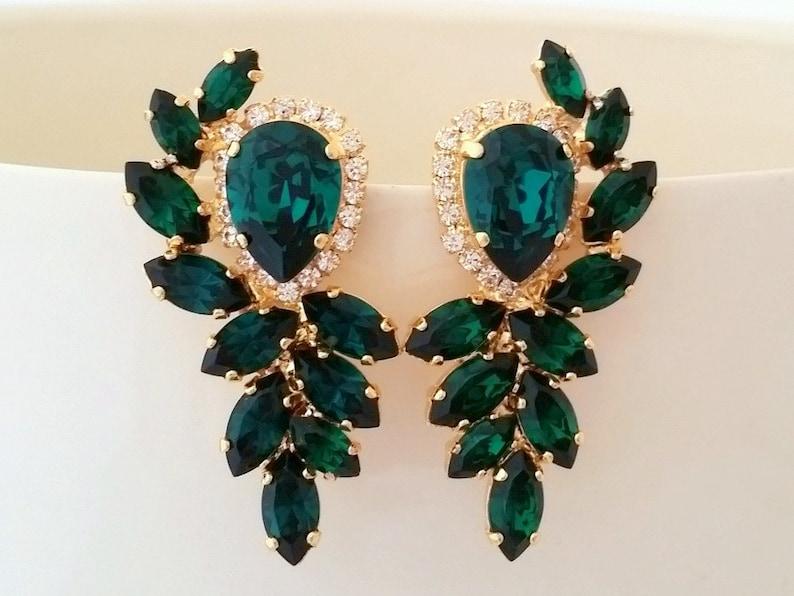 Emerald earringsbridal earrings Emerald bridal image 0