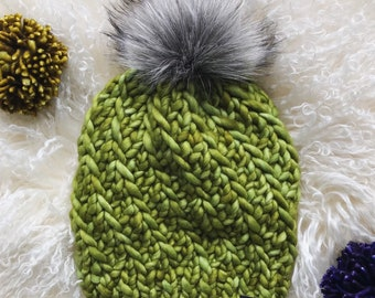 Knit Pom Pom Soft Merino Beanie beautiful gift GREENS and PURPLES in hand dyed fine MERINO wool handmade winter accessories