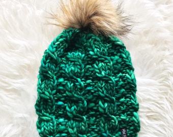 4e08393b0db Knit Pom Pom Soft Merino Beanie - in hand dyed fine MERINO wool - EMERALD -  handmade - winter accessories - beautiful gift - faux fur