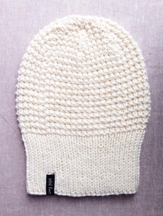 GERANIUM Hand Knit Cashmere Soft Merino dark pink Luxurious Soft Merino Beanie The PERFECT Slouch