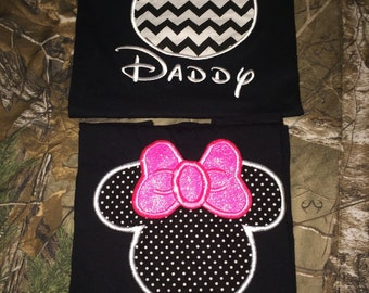 Mommy and Daddy Mickey/ Minnie shirts. Two Shirts.