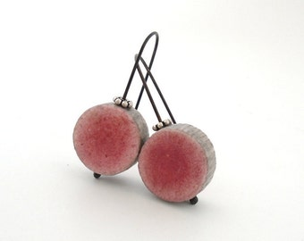 Pink and grey clay minimal earrings modern textured disc round contemporary eco friendly rustic air dry clay oxidized sterling faux ceramic