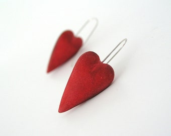 Valentine earrings red clay hearts love earrings  Valentines day rustic romantic earrings sterling silver, air dry clay minimal earrings