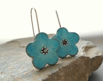 Clay rustic earrings blue turquoise grey  flower, air dry clay eco friendly jewelry faux ceramic, sterling silver, floral organic,  daisy