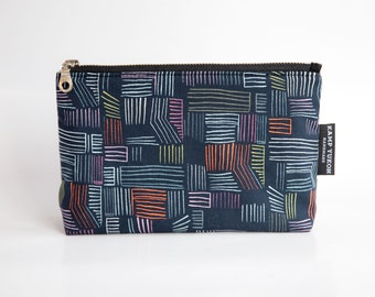Zipper Pouch - Geometric Lines - Modern sketch makeup and cosmetic bag - Travel and toiletry zipper pouch - colorful lines pencil case