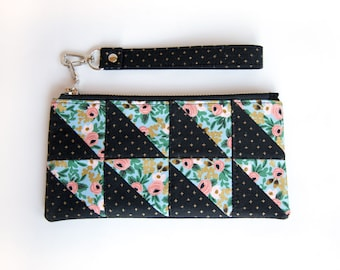 Patchwork Clutch Card Wallet - Blue Metallic Rosa Rifle Paper - Small Quilted Fabric Pouch - Unique Card Wallet / Phone Holder