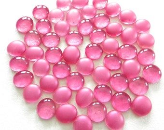 50 Glass Gems - HOT PINK - Mosaic Supplies - Half Marbles/Cabochons/Glass Nuggets