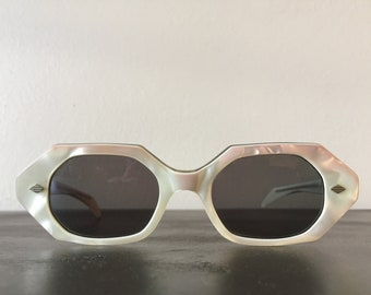 Vintage Sunglasses French 1950s Lucite Sunglasses Heptagon Opal Pink White Mod Eye Ware True Vintage Decadence