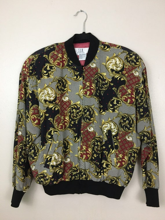 Vintage 1980s Puffy Bomber Jacket Baroque Versace… - image 1