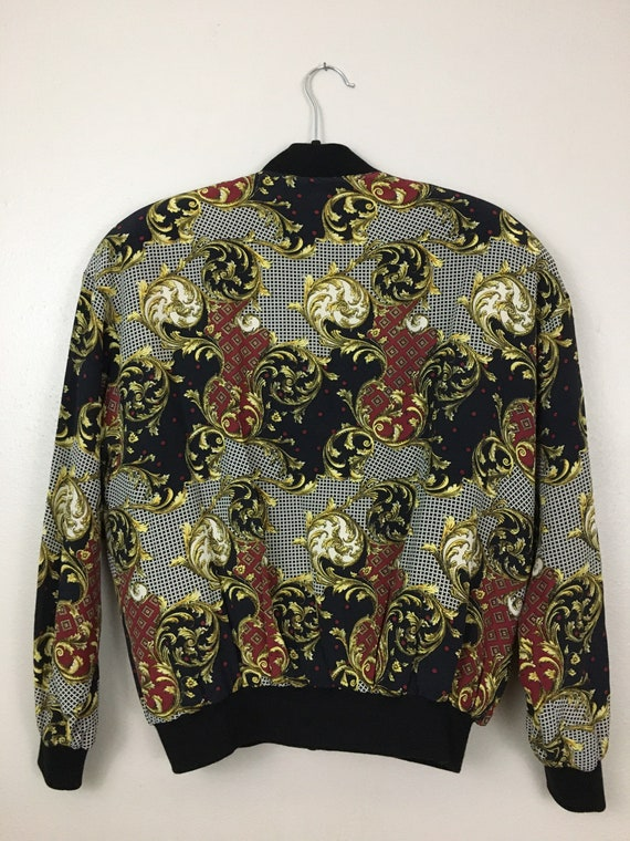Vintage 1980s Puffy Bomber Jacket Baroque Versace… - image 3