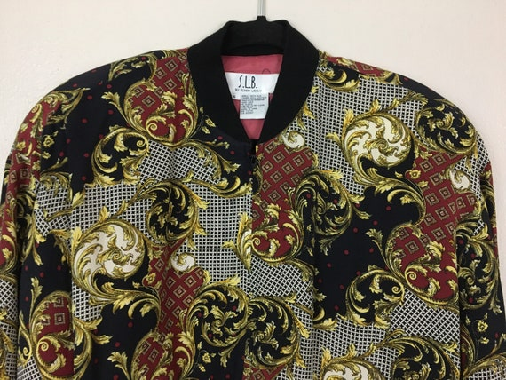 Vintage 1980s Puffy Bomber Jacket Baroque Versace… - image 7