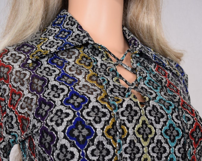 Vintage 1970's MISS HOLLY Laced RaInBoW HiPPiE BoHo DiScO Knit Top Shirt Blouse M