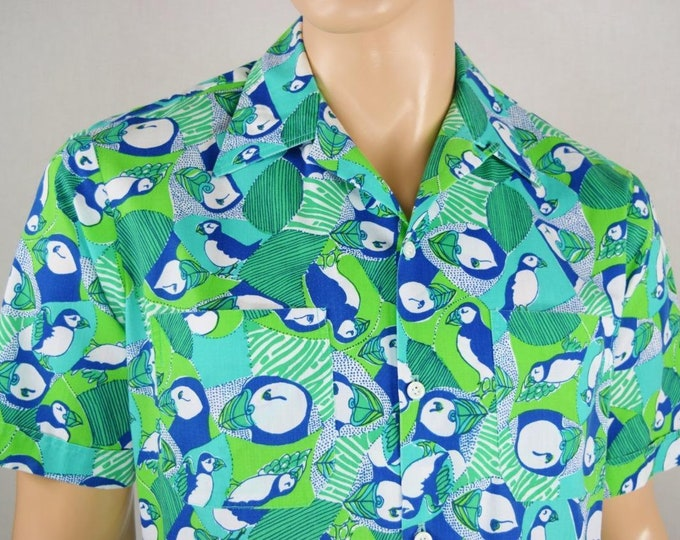 Vintage 1960's Men's LiLLY PuLitZeR Mens Stuff MoD Puffin Loop Collar Hawaiian Beach Shirt Size XL