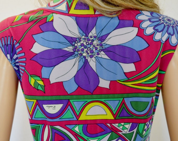 Vintage 1960's EMILIO PUCCI MoD PsYcHeDeLiC Op ArT OpTiC FLoWeR  Couture Dress M 12 - Museum Quality Flawless