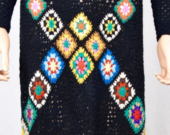 Vintage 1970's Women's MASKIT Crocheted Granny Square Wool HiPPiE BoHo Woodstock Maxi Dress Size S M