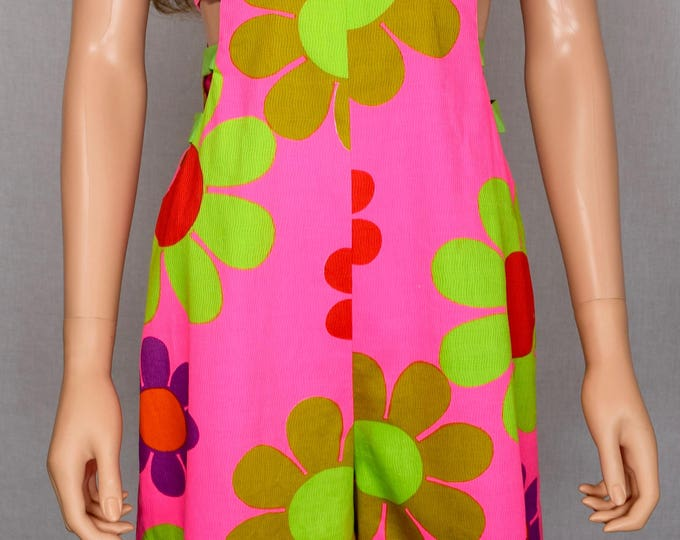 Vintage 1960's Alice Polynesian Fashions Go - Go FLOWER POWER Neon PsYcHeDeLiC Cut Out HiPPiE MoD Hawaiian Jumpsuit Romper Laugh-In
