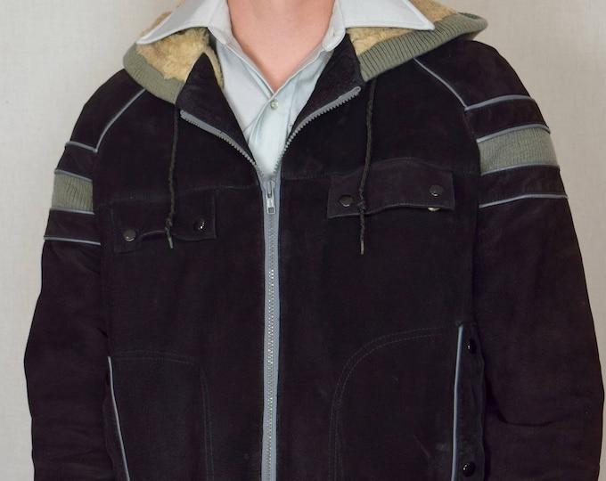 Vintage Men's 1970's Berman's CoLoR BLoCkeD Striped Suede LEATHER & Knit HiPPiE HiPsTeR Faux Fur Lined Jacket Size L XL