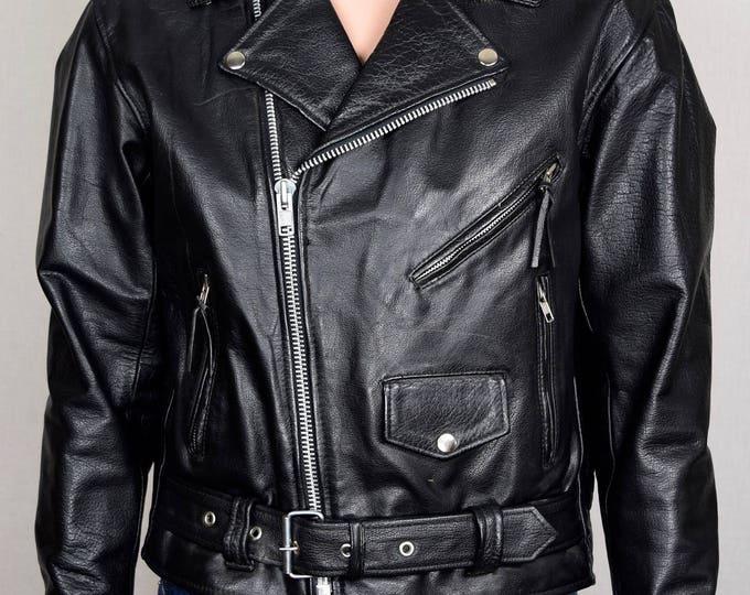 Vintage Early 1980's Men's UNIK Black Leather Brando Biker Punk Rock Motorcycle Jacket 42 S