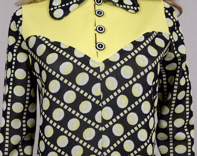 Vintage 1960's 70's Women's Love & Kisses 2 Piece MOD Polka Dot Pop Op Art Bell Bottom Pant Suit Size M