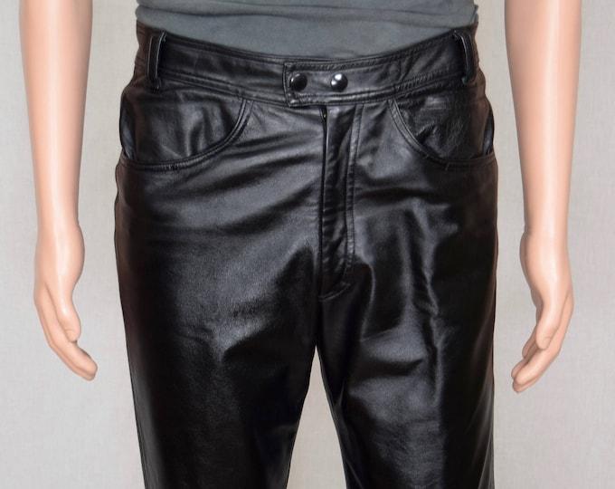 Sale - Vintage 1990's Manuel Couture Exclusive Clothier Men's Black Leather Pants 32 x 31 Size S