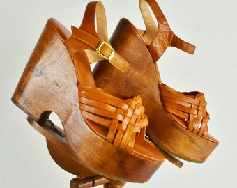 Vintage 1970's Women's Huge Wood Platform Leather Weave DiScO Boho Chic HiPPiE Shoes Sandals Size 8 8.5 ~ Super Clean