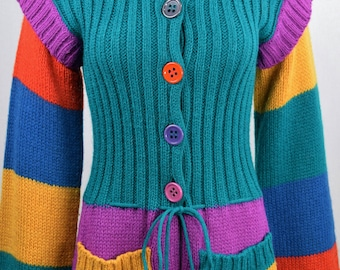 Vintage 1970s Offspring by Trisha Sayad CoLoR bloCk KniT MoHair HiPPiE RaiNboW Bright FuN WooL CarDiGaN Sweater M