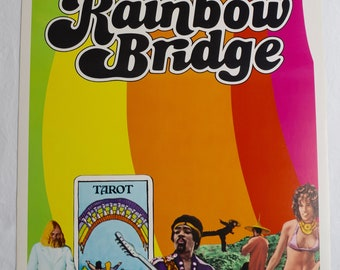 Vintage 1972 JIMI HENDRIX Rainbow Bridge Insert Movie Poster 14x36 Surfer Print - Very Rare