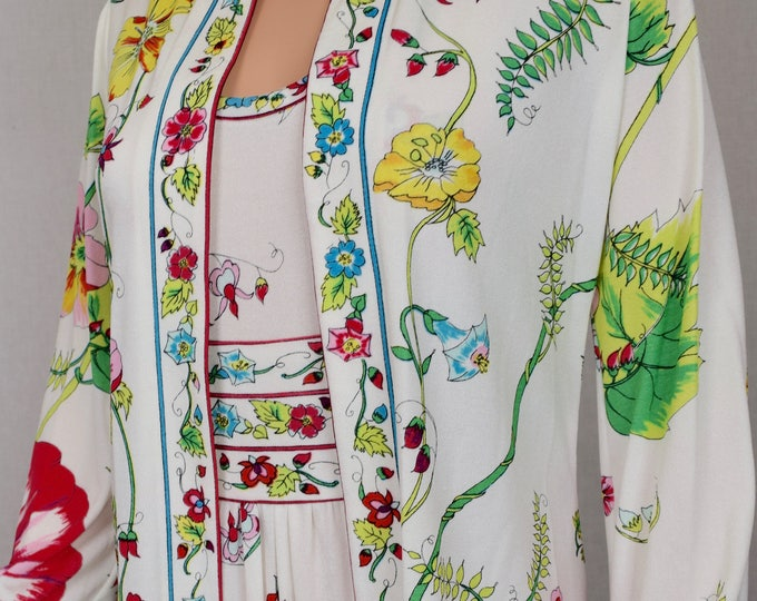 Vintage 1970's Rare Set ~ MAURICE Signed PsYcHeDeLiC BoHeMiAN FLoWeR Summer GaRdeN Party HiPPiE Couture Long Maxi Dress & Jacket Size S 8