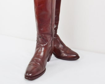Vintage 1970's Frye Leather Boots Women's Burgundy Tall Western Campus Cowboy Riding Boots Stacked heel Hippie Hipster Size 7 / 7.5 Restored