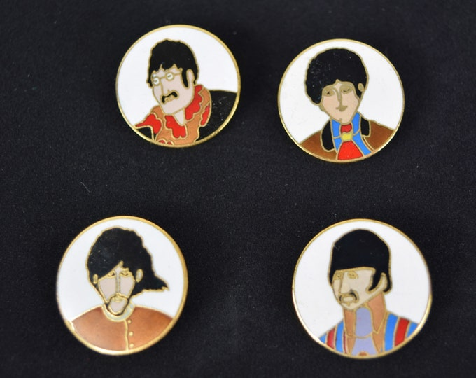 Rare Vintage Set of 4 Round Enamel Beatles Yellow Submarine Collector Pins Pinback Buttons John Paul George Ringo