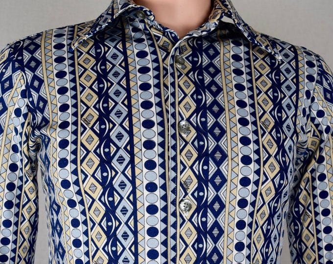 Vintage 1970's Men's EMILIO PUCCI Chesa OpTiC Op ArT MOD HiPPiE Retro DiScO Shirt Size S 38
