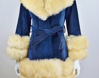 Vintage 1970's Women's Huge Shearling Lamb Trim Blue Suede Princess Almost Famous Shaggy Boho Hippie Coat