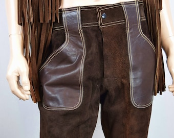 RaRe Vintage Men's RoCkStaR SILTON California Brown Leather & Suede Bell Bottom Pants HiPPiE 32 x 31