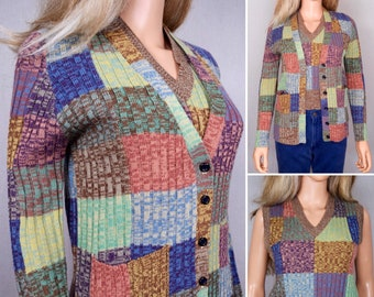 Vintage 1970's Women's Hukapoo SpAcE DyEd Rainbow PATCHWORK HiPPiE CoLoR BLoCkeD Cardigan Sweater & Vest Set Size M