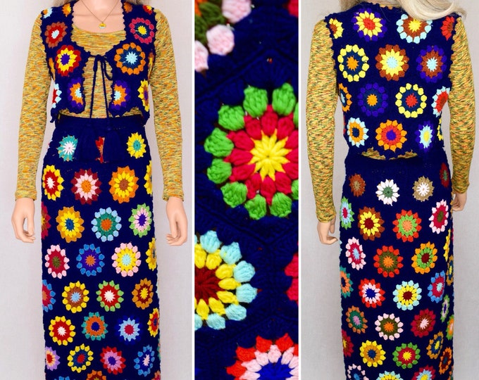 Featured listing image: RARE Vintage 1970's Women's Crocheted Psychedelic HiPPiE BoHo Flower Woodstock Maxi Skirt & Vest Outfit Size M