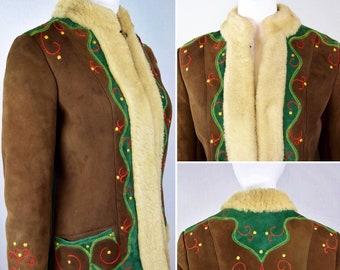 Vintage 1960's Sak's Fifth Ave ~ Appliquéd EmBrOiDeReD Shearling Sheepskin Fur Afghan ~ Brown HiPPiE BoHo Women's Coat Size M L