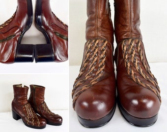 Vintage 1970's Flagg Brothers Men's Size 10 ~  10.5 - Platform Boots ~ Brown Leather 3 Strand Braided Detail Disco Fever Glam Rocker Bowie P