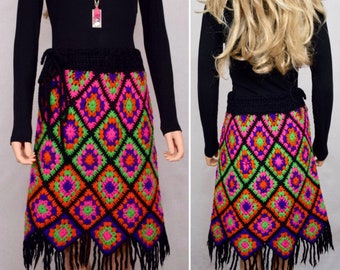 Vintage 1960's 70's EMPRESS Neon Granny Square Crocheted Fringed HiPPiE BoHo Skirt M