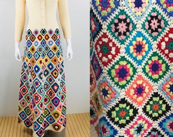 Rare Vintage 1970's Women's MASKIT Crocheted Granny Square Wool HiPPiE BoHo Woodstock Maxi Dress Size S M