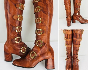 Vintage 1970's Women's Sbicca Brown Marble Leather Gladiator Buckle Tall Rocker Go Go HiPPiE MOD Steampunk Punk rock Boots Size Fits 8.5 9