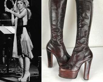 "Vintage 1970's Ox Blood Leather Tall 23"" OTK Over Knee PLATFORM Huge 5"" Heel Stevie Nicks Style Boho Rocker HiPPiE DiScO GlaM RoCk BooTs"