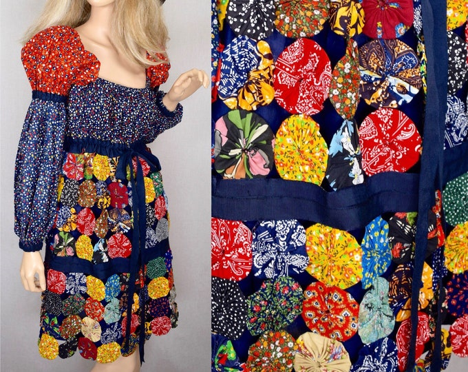 Featured listing image: Vintage 1960's 70's Yo-Yo's Patchwork Calico Prairie Woodstock HIPPIE Mini Dress Size S M