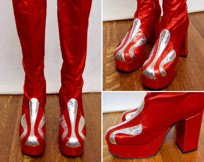 Featured listing image: Vintage 1970's Women's HUGE PLATFORM TaLL Red Satin & Silver Metallic Snakeskin DiScO David Bowie Rock Star Stomper BooTs Size 6.5 / 7