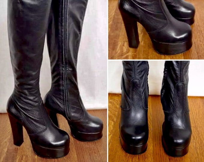 Featured listing image: Vintage 1970's Women's HUGE PLATFORM TaLL OTK Black Leather DiScO BooTs Made England Size 6 6.5 6 1/2