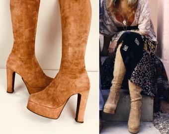 "Vintage 1970's Tan Suede Tall OTK Over Knee PLATFORM Huge 5"" Heel ~ Stevie Nicks Style Boho Rocker HiPPiE DiScO GlaM RoCk BooTs 8.5 9"