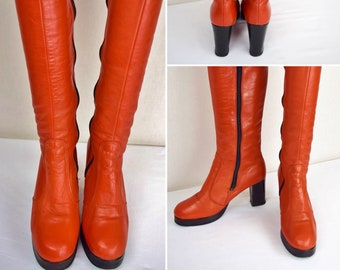 Vintage 1970's Rusty Red Tall Knee High Black Platform Leather Mod Hippie Boho Disco Women's Boots Size 7 7.5