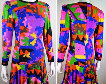 Vintage 1980's Louis Feraud Couture Psychedelic Abstract Geometric Op Art Print Multi Colored Silk Drop Waist Cocktail Evening Dress Size S