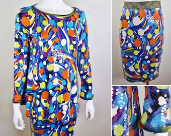 Vintage 1980's Rare MISSONI Neiman Marcus Shiny Sequined Geometric Op Art Print Multi Color Knit 2 Piece Top & Skirt Outfit Set Size M