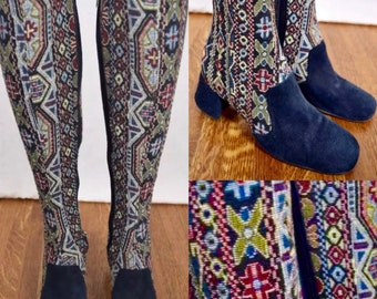 Vintage 1970's Women's CHANDLERS OTK Needle Point Tapestry Blue Suede Hippie Boho Boots Size 7